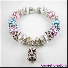 Carousel Charm European Bracelet Silver Aluminum Beads Crystal Tibetan Silver Merry Go Round by carosell TAGS - Jewelry, bracelet, charm bracelet, carosell creations, European Beads, tibetan silver, large hole beads, carousel, merry go round, aluminum, fantasy jewelry, charm bracelets, rhinestone, european bracelet, crystal bracelet, bling, etsy, handmade, womens bracelet, ladies bracelet, accessories, amusement park, carousels