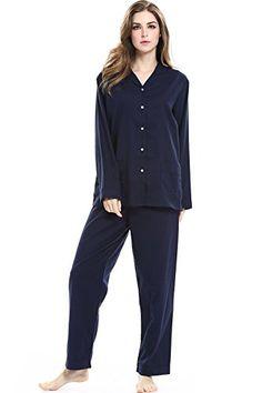 ROSEHUI Women PJ Set Cotton Pajamas Long Sleeve Sleepwear Button Down  Shirts S-XXL Cotton d36926474