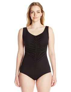 bcd1527cc0 Maxine of Hollywood Women s Plus-Size Spa Solid Shirred Front Girl-Leg  Swimsuit with Chlorine Resist