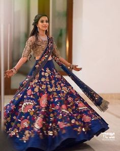 Manish Malhotra Bridal Collection - Royal Blue Skirt And Gold Illusion Top Lehenga Designs, Half Saree Designs, Indian Bridal Outfits, Indian Bridal Fashion, Pakistani Dresses, Indian Dresses, Western Dresses, Manish Malhotra Bridal Collection, Indian Reception Outfit