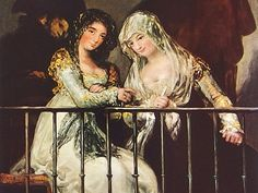 Majas on a Balcony by Goya  an Original 1954 by bythewayside