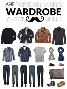 Start with an un-ironed neutral shirt (a button-down or a cotton Tee will both… Capsule Wardrobe Men, Men's Wardrobe, Mens Wardrobe Essentials, Dress Like A Parisian, Parisian Style, Parisian Wardrobe, French Man, French Style, Men's Clothing