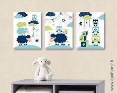 illustration pour enfant garçon, décoration chambre bébé affiche poster, réf.51 bleu vert : Décoration pour enfants par cashemir
