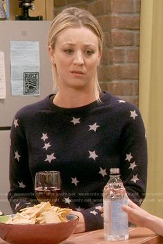Penny's navy star print sweater on The Big Bang Theory.  Outfit Details: https://wornontv.net/64519/ #TheBigBangTheory