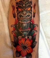 What does tiki tattoo mean? We have tiki tattoo ideas, designs, symbolism and we explain the meaning behind the tattoo. Best 3d Tattoos, Trendy Tattoos, Love Tattoos, Picture Tattoos, New Tattoos, Tatoos, Tribal Tattoos, Thigh Tattoos, Hawaiian Tattoo Meanings
