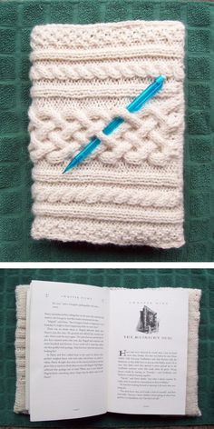 Free Knitting Pattern for Cable Book or Journal Cover - This cover features braided cables and easy to customize. Designed by yss in worsted yarn. Pictured project by AmyPC who modified the flaps to stockinette and ribbing to sit flat inside book.