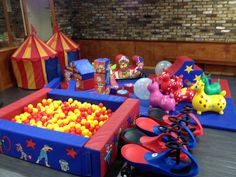 Circus themed soft play for Mr Tumble/Circus party Twin Birthday, First Birthday Parties, First Birthdays, Birthday Ideas, Mr Tumble, Party Themes, Party Ideas, Soft Play, Circus Party