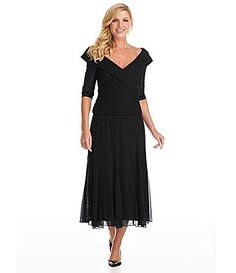 Of the Dillards dresses, this is the one that spoke to me.  Alex Evenings PortraitCollar Mesh Gown #Dillards