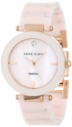 Anne Klein Women's Diamond Light Pink Ceramic Watch Cool Watches For Women, Trendy Watches, Cute Watches, Women's Watches, Luxury Watches, Anne Klein Watch, Michael Kors, Beautiful Watches, Fashion Watches