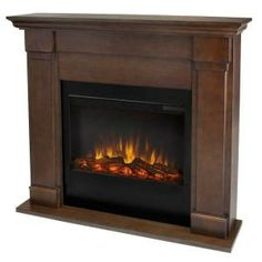 Real Flame Lowry 46 in. Slim Line Electric Fireplace in Vintage Black Maple-7990E-VBM at The Home Depot