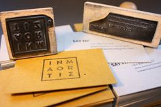 Business card design Rubber stamps and cardboard Stamps: Quilez Stamps http://inmaortizmontiel.com/Business-cards