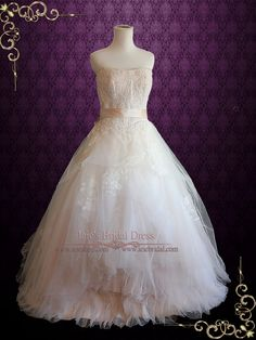 Whimsical Strapless Lace Ball Gown Wedding Dress Eliza Ieie's Bridal Wedding Dress Boutique
