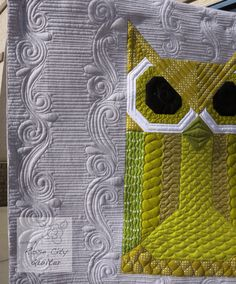 My Allie Owlie quilt by Rose City Quilter.  Quilt pattern by Elizabeth Hartman. The background quilting was learned in a class from Angela Walters.