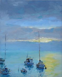 """Wilson, Keene - """"Catalina Mooring Sun"""" I got up at 5:30am to paint """"Catalina Mooring Sun"""". The view was spectacular, but the view I painted only lasted for about 5 minutes. In fact, shortly after I started painting, the sun's glare was so intense that I had to relocate so that my eyes were shielded by the shade of a palm tree."""