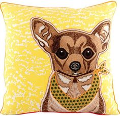 Appliqued Chihuahua Cushion Cover