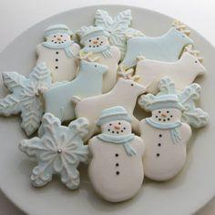 Winter wonderland decorated cookies, Christmas favors, snowmen, snowflakes and reindeer, 1 dozen cookies