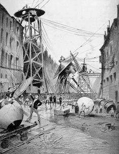Dead Tripods in London - the aftermath. Illustration by Henrique Alvim Corrêa