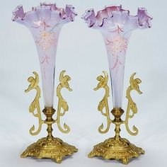 "Pr. Victorian epergnes, lilac,metal bases, 10 1/2""."