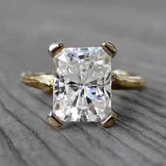 Emerald Cut Moissanite Branch Engagement Ring by kristincoffin, $2400.00