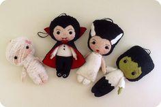 ..................... my felt friends ......................: Halloween dolls by Gingermelon
