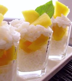 Thai-Style Sticky Rice & Mango Dessert Shots ~ these sound delicious, different twist on the traditional rice pudding.