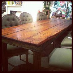 farmhouse dining room table DIY - love the stain, minwax special ...