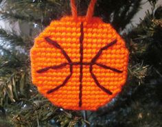 Basketball ornament in plastic canvas