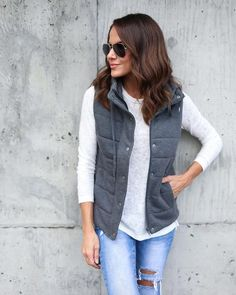 65224828629 Quilted Cotton Pocketed Vest - Charcoal