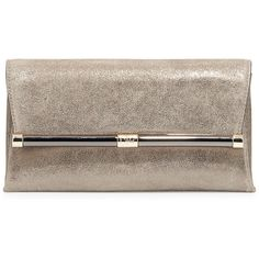 Diane von Furstenberg Metallic Suede Evening Clutch Bag ($280) ❤ liked on Polyvore featuring bags, handbags, clutches, brown leather purse, suede purse, purse and metallic purse
