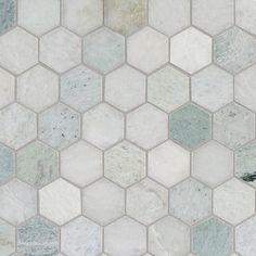 Caribbean Green Hexagon Tumbled Marble Mosaic - 12 x 12 - 100052604 - - Caribbean Green Hexagon Tumbled Marble Mosaic - 12 x 12 - Diy Bathroom Storage, Hexagon Tiles, Shower Floor Tile, Shower Remodel, Shower Tile, Bathroom Makeover, Marble Mosaic, Bathrooms Remodel, Bathroom Design