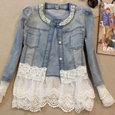 Angel™ @americanstyle Lace Denim Jacket...Instagram photo | Websta (Webstagram)