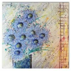 Blue flowers in a vase.