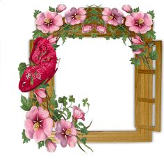 Wooden Winow with Flowers and Butterfly Transparent Frame