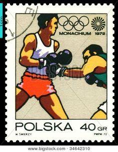 Vintage  Postage Stamp. Boxing.  Munich 72.