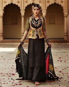 "A favourite across ages - handloom silk kurta sharara with handloom gajji silk and mashru silk jacket from ""Aarekhini""~ inspired by tribal Gujarat! India Fashion, Ethnic Fashion, Asian Fashion, Indian Attire, Indian Wear, Kurta Designs, Blouse Designs, Dress Designs, Indian Dresses"