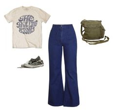 """#864"" by sydneydeleonofficial ❤ liked on Polyvore featuring GAS Jeans, casual, comfy, retro, graphictee and flaredjeans"