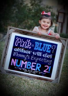 Printable Chalkboard Pregnancy Announcement Sign Digital File Pink or Blue Mommy's Expecting Number 2 - Baby Announcement Photoshoot Prop - Pregnancy Photos Baby Number 2 Announcement, Second Pregnancy Announcements, Big Sister Announcement, Cute Baby Announcements, Creative Pregnancy Announcement, Pregnancy Photos, Erwarten Baby, Foto Baby, New Baby Products