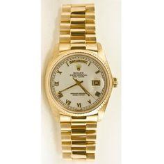 3326f9b2fe3 Rolex Mens 18k Yellow Gold President Day Date Model 18238 White Roman Dial  Rolex http