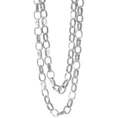 LAGOS Mixed Link Caviar Necklace ($975) via Polyvore featuring jewelry, necklaces, silver, bead strand necklace, beaded jewelry, lagos jewelry, strand necklace and lagos necklace