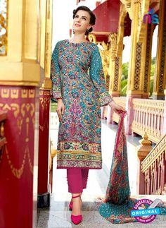 SC 12728 Multicolor and Magenta Lawn Cotton Embroidered Suit