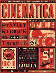 Vintage Cinema Festival Poster Flyer RedBlack (by ZiaroGraphics) Click here to help someone