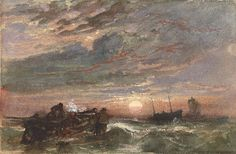 Sam Bough (1822-1878), Herring Boats Going to Sea After Storm.