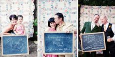 Photobooth/Chalkboards as a guest book. Hang a patterned cloth or create a backdrop to serve as your photobooth. Provide chalkboards and chalk and leave a sign instructing guests to write a message and take a picture with it. You'll get sweet pictures that showcase your guests' personalities