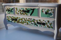 Refurbished Jewelry Box, Music Box, Glossy White Dresser Style With Tree Floral…