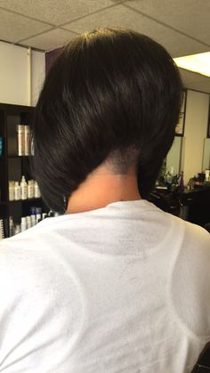 Stacked Angled Bob, Short Stacked Bobs, Inverted Bob, Cute Haircuts, Bob Haircuts, Undercut Hairstyles, Undercut Bob, Shaved Nape, Stacked Bob Hairstyles