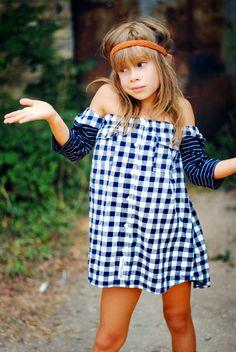 Poor Pitiful Pearl Kids Mixed Sleeve Oxy /// #poorpitifulpearl #children #clothing #kids #girls #ooak #oneofakind #handmade #precious #plaid #checkered #stripes #navy