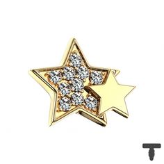 Dermal Anchor vergoldet doppelstern mit Kristallen in Materialstärke mm Dermal Anchor, Chf, Enamel, Accessories, Crystals, Stars, Steel, Dermal Piercing, Vitreous Enamel