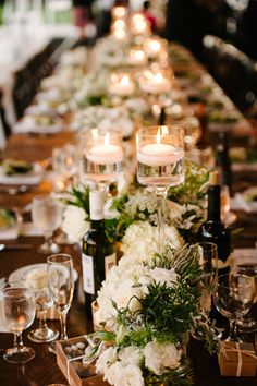 Greenery Garland Wedding Runner for Long Rectangle, table with white hydrangea and candles , create lush and textured reception table