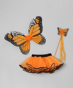 This Orange Butterfly Wings Set - Girls by Sparkle Adventure is perfect! #zulilyfinds