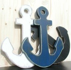 navy blue anchor wood nautical wall art